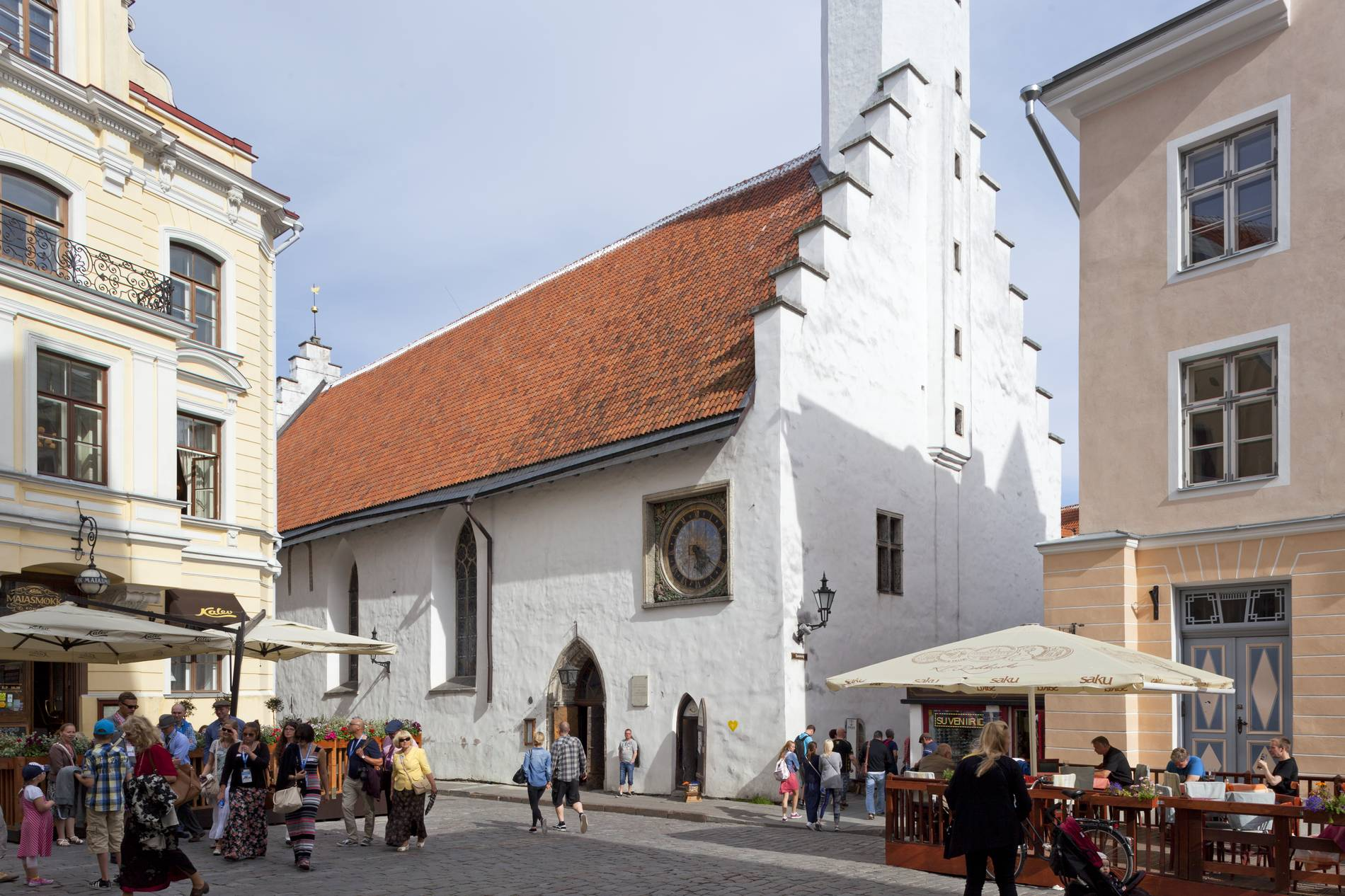 View of the Holy Spirit Church in the Old Town of Tallinn, Estonia