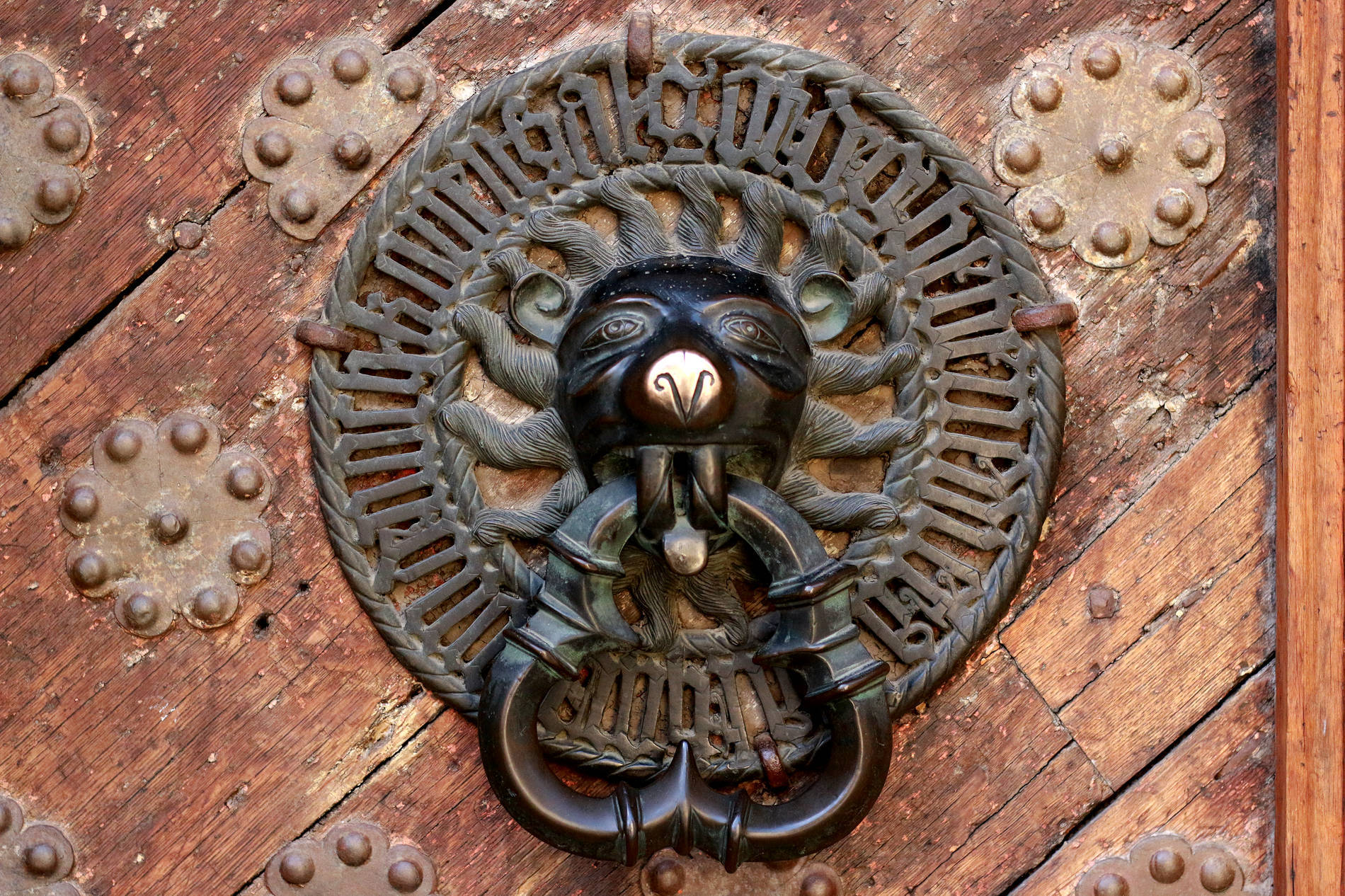 Door knocker of the Great Guild Hall and History museum in the Old Town of Tallinn. Estonia.