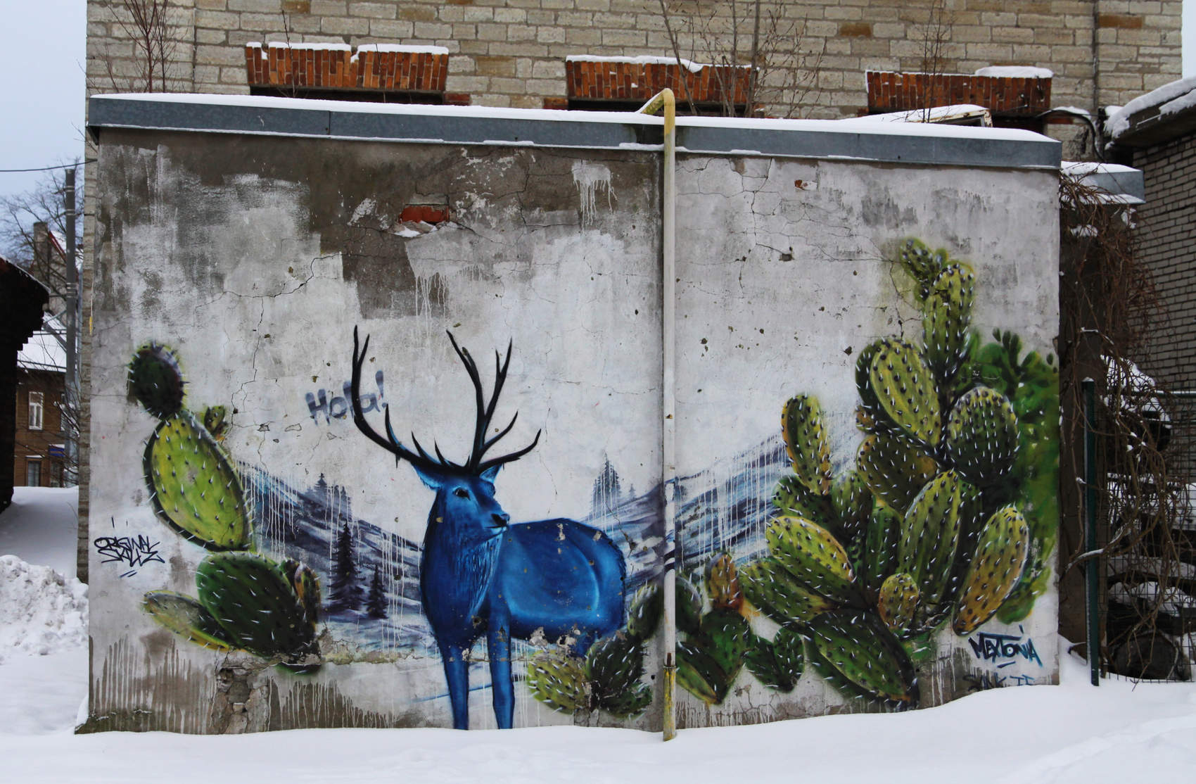 Blue deer - street art by Sänk in Tallinn, Estonia Photo: Mairit Krabbi
