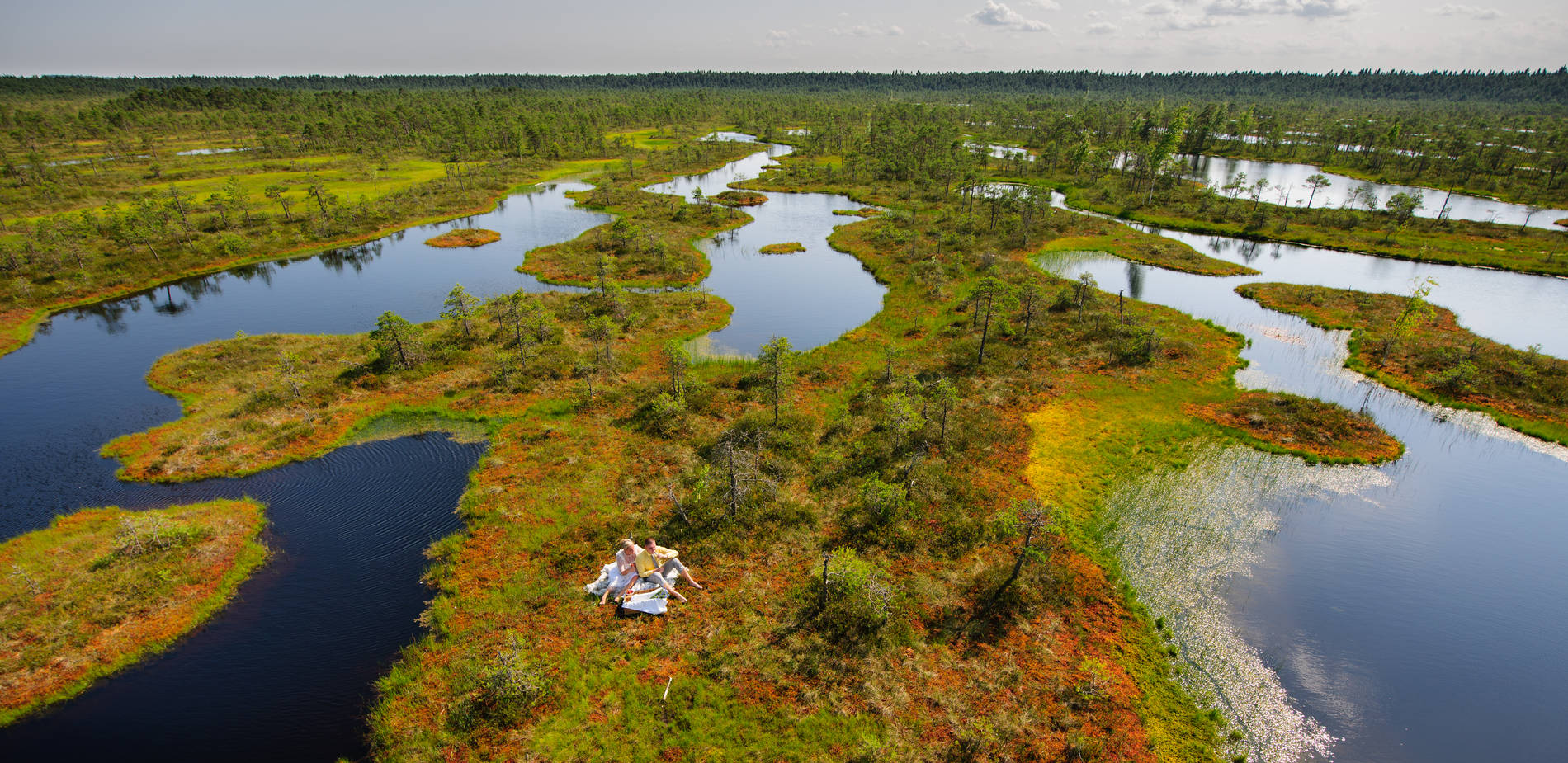 Two people having a picnic at an Estonian bog. Photo by: Sven Zacek